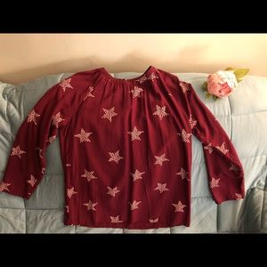 Girls Gap Maroon Star Blouse, size XXL